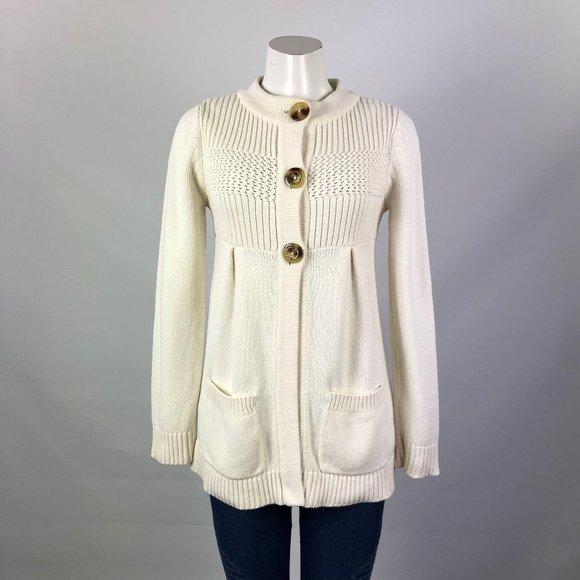 Michael Kors Cream Knitted Cardigan Size M